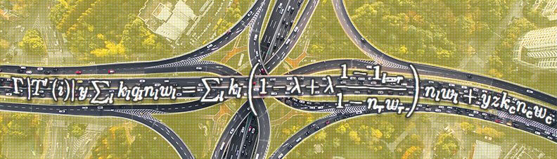 Aerial view of roads and equation