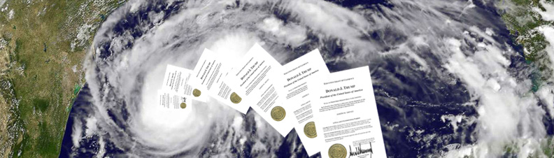 executive orders disappearing into a hurricane